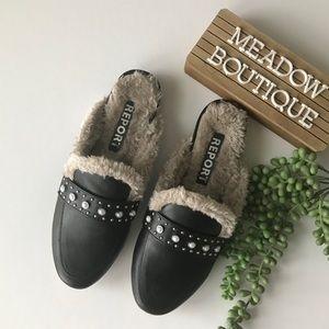 Report Zilla Black Faux Fur Mules Slip On Shoe